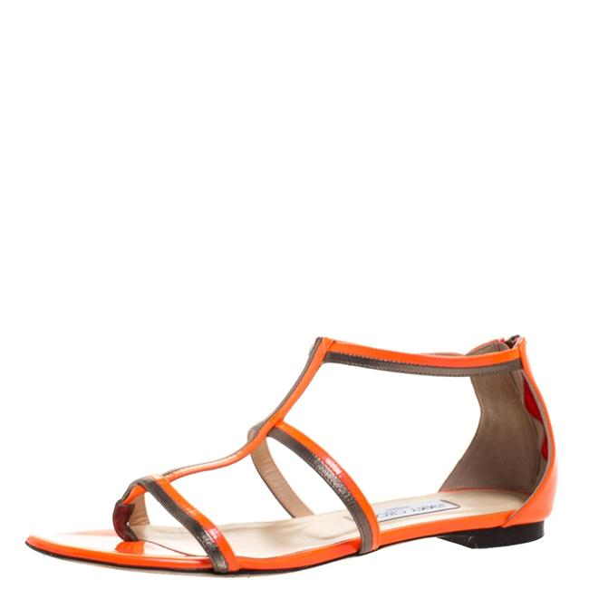 Jimmy Choo Neon Orange Patent Leather Tabitha Caged T Strappy Flat Size 40 Sandals Jimmy Choo Neon Orange Patent Leather Tabitha Caged T Strappy Flat Size 40 Sandals Image 1