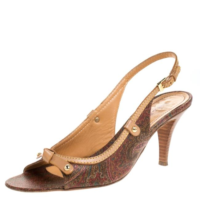 Item - Brown Paisley Print Coated Canvas and Leather Open Toe Slingback Size 39.5 Sandals