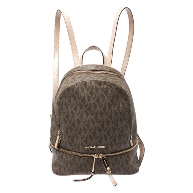 Item - Brown/Beige Signature Coated Canvas Medium Rhea Backpack