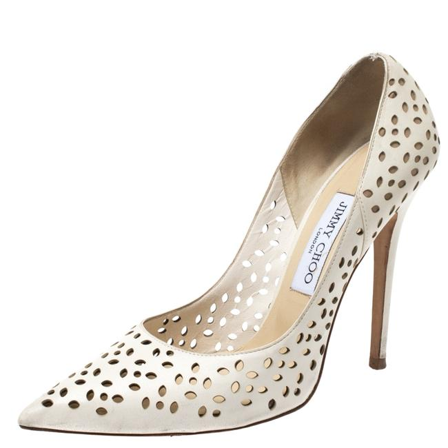 Item - White Perforated Leather Anouk Pointed Size 38.5 Pumps
