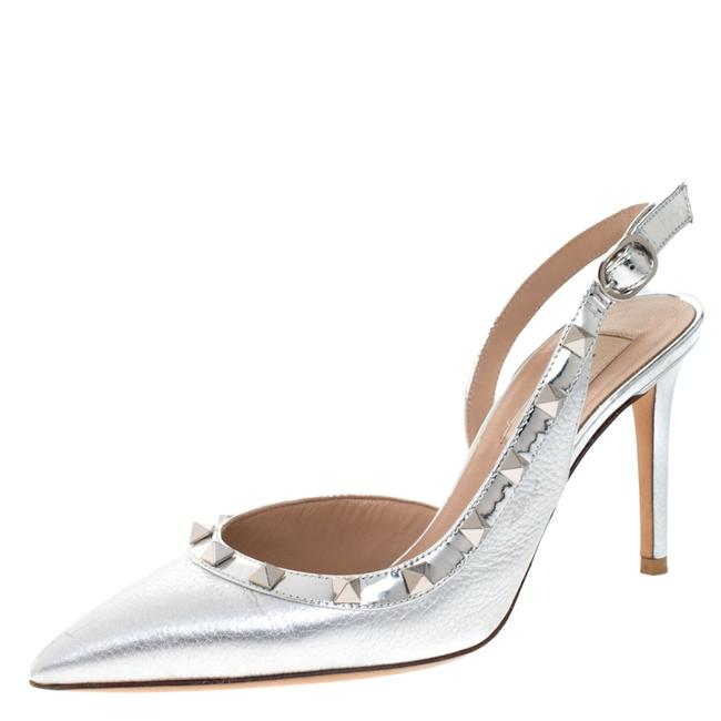 Item - Metallic Silver Leather Rockstud D'orsay Slingback Pointed Size 36.5 Sandals