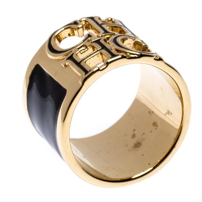 Item - Logo Black Enamel Gold Tone Wide Band Ring Size 56 Jewelry