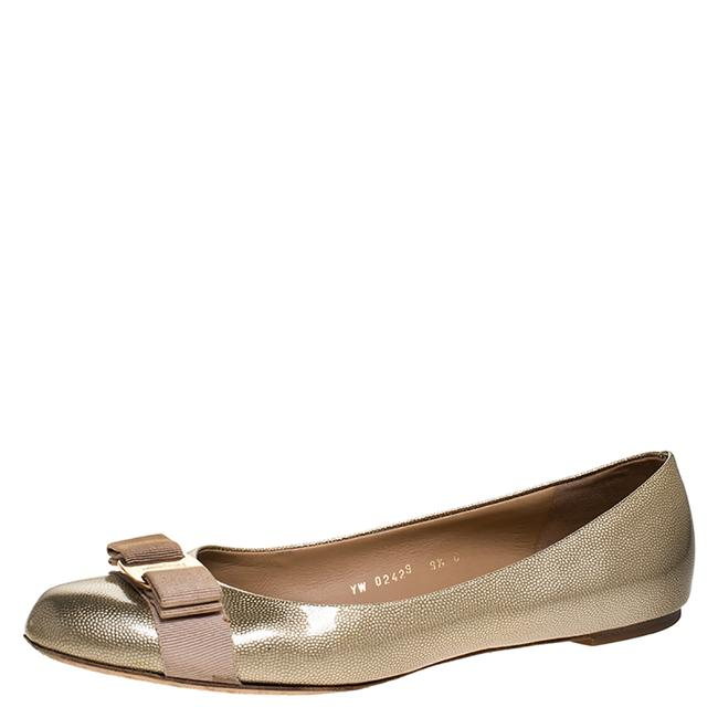 Item - Gold Coated Leather Vara Bow Ballet Size 40 Flats