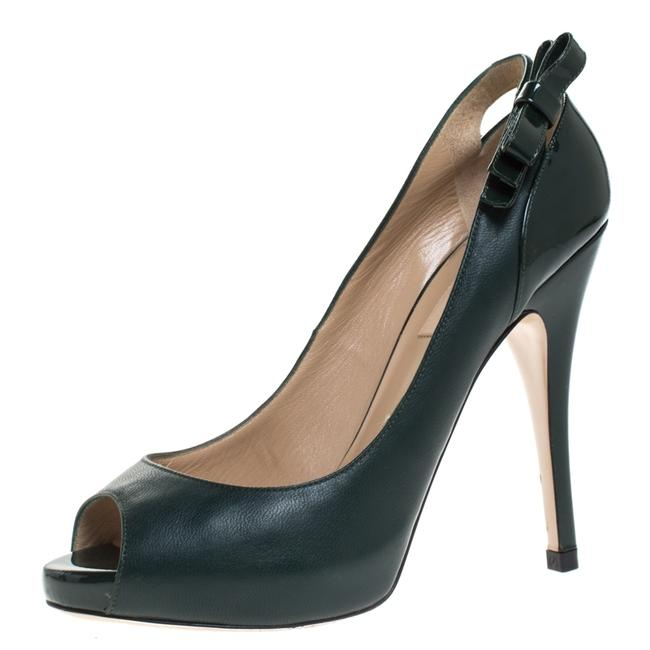 Item - Green Leather and Patent Leather Bow Peep Toe Platform Size 37.5 Pumps