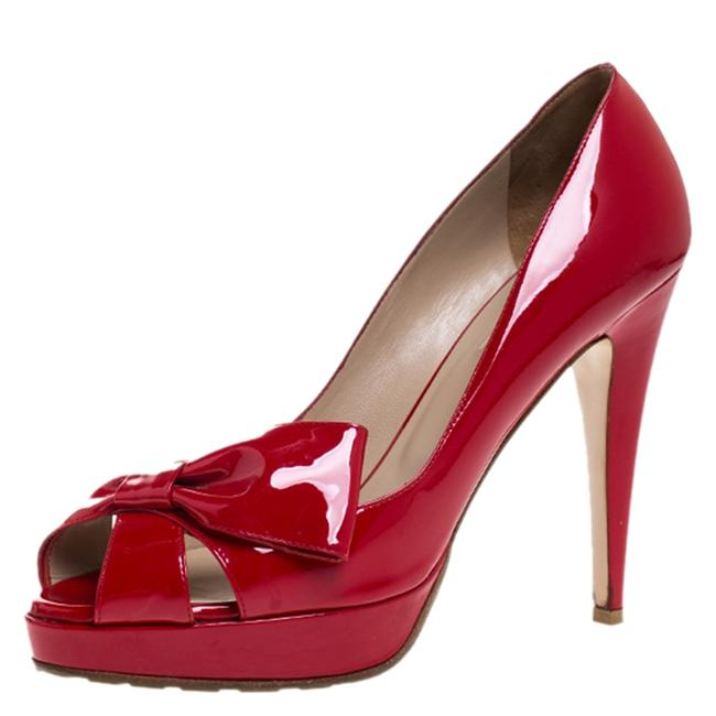 Valentino Red Patent Leather Bow Open Toe Platform Size 40 Pumps Valentino Red Patent Leather Bow Open Toe Platform Size 40 Pumps Image 1
