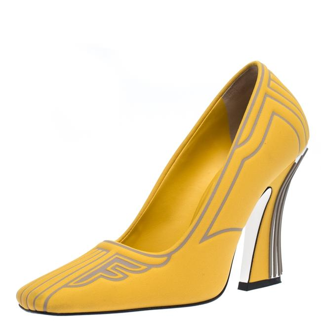 Item - Yellow/Grey Neoprene and Rubber Square Toe Ffreedom Size 37 Pumps