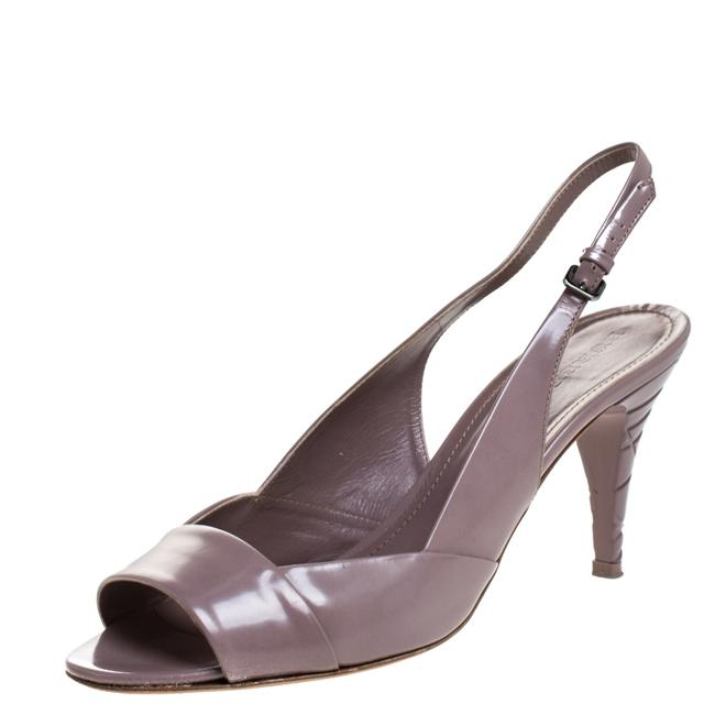 Item - Lilac Leather Open Toe Slingback Size 41 Sandals