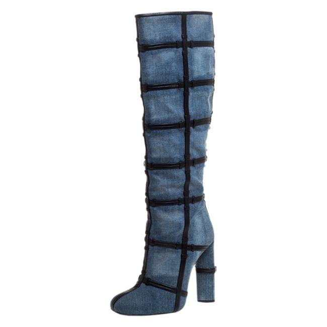 Tom Ford Denim Fabric and Leather Trim Patchwork Knee Length Size 39 Boots/Booties Tom Ford Denim Fabric and Leather Trim Patchwork Knee Length Size 39 Boots/Booties Image 1
