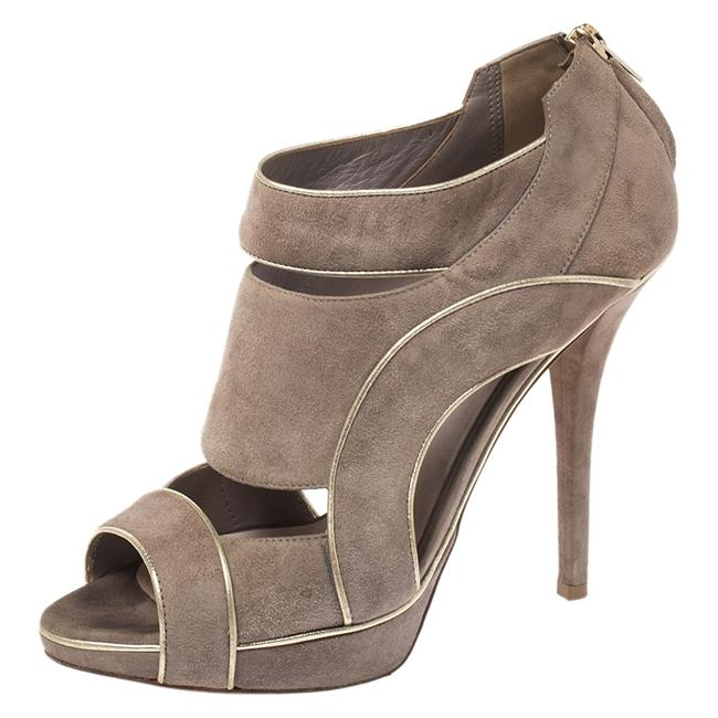 Item - Grey Suede Leather Cutout Open Toe Platform Size 38 Boots/Booties