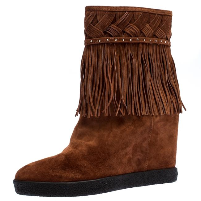Item - Brown Suede Concealed Fringed Wedge Size 37.5 Boots/Booties