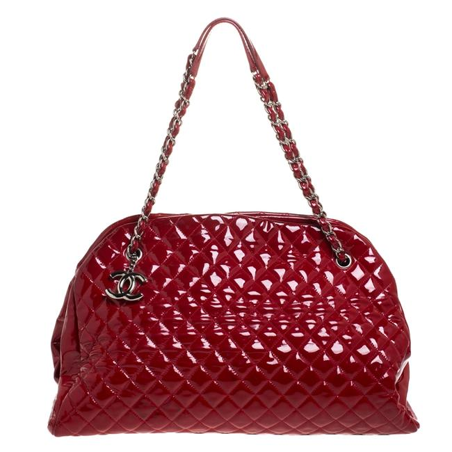 Item - Mademoiselle Red Quilted Patent Leather Large Just Bowler Bag Satchel