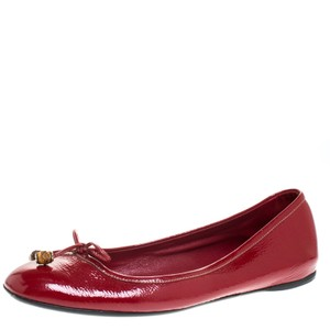 Gucci Red Patent Leather Bamboo Bow Ballet Size 39.5 Flats