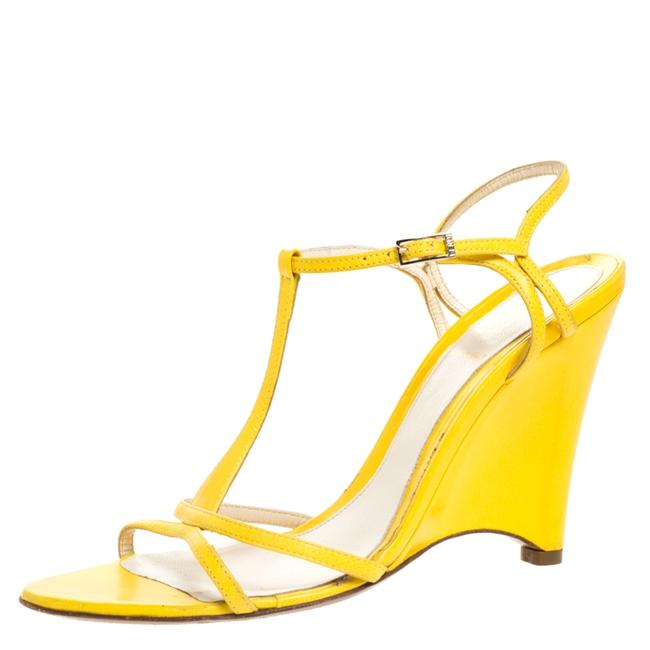 Item - Yellow Leather Wedge Ankle Strap Size 38 Sandals