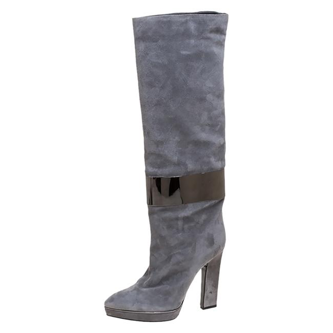 Item - Grey Suede Metal Cuff Size 41 Boots/Booties