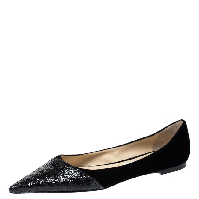 Item - Black Glitter Fabric and Velvet Love Pointed Size 39 Flats