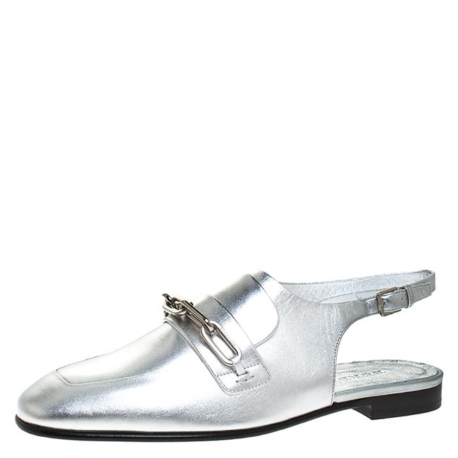 Item - Silver Leather Cheltown Slingback Flat Size 38.5 Sandals