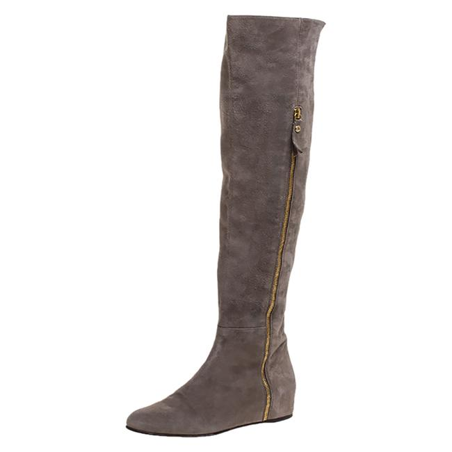 Item - Grey Suede Knee Length Size 38.5 Boots/Booties