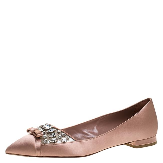 Item - Old Rose Pink Satin Jeweled Pointed Toe Ballet Size 37 Flats