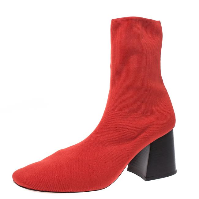 Item - Orange Stretch Knit Fabric Sock Block Heel Ankle Size 39.5 Boots/Booties