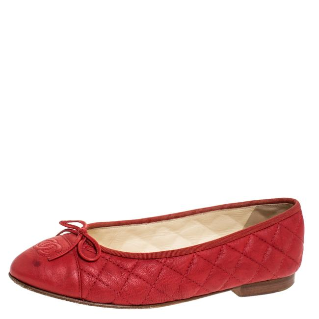 Item - Red Quilted Leather Cc Ballet Size 38.5 Flats