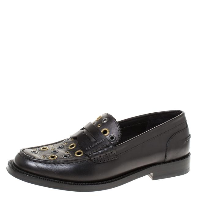Item - Black Leather Bedmont Eyelet Detail Penny Size 37 Loafers