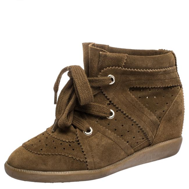Item - Bobby Brown Suede Leather Wedge Lace Up Sneakers Size 37 Athletic