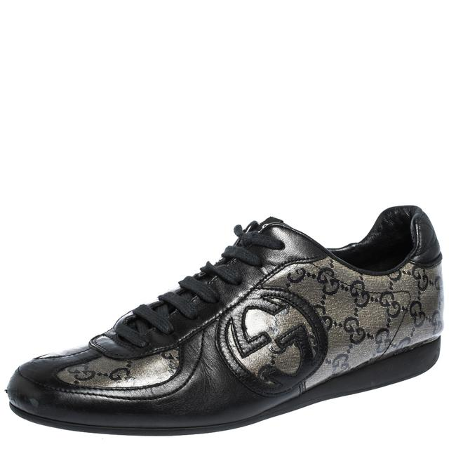 Item - Black/Beige Gg Coated Glitter Canvas Low Top Sneakers Size 37.5 Athletic