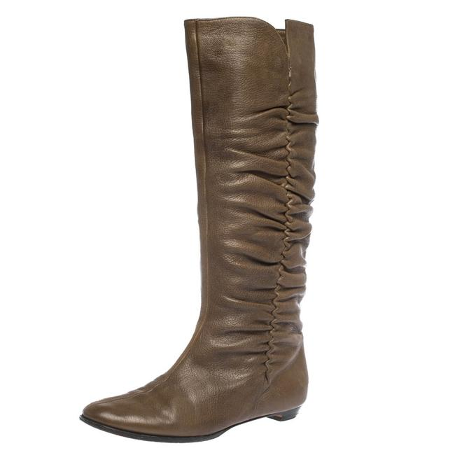 Item - Brown Leather Pleat Detail Knee High Size 38.5 Boots/Booties