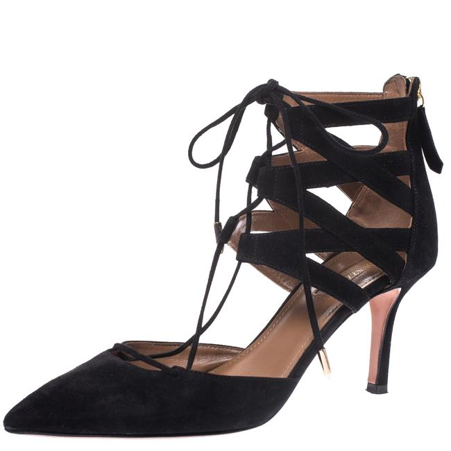 Item - Black Suede Belgravia Lace Up Pointed Size 37.5 Pumps
