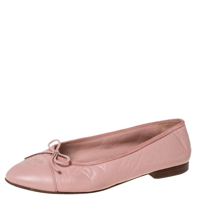 Item - Pink Leather and Grosgrain Trim Cc Bow Ballet Size 40 Flats