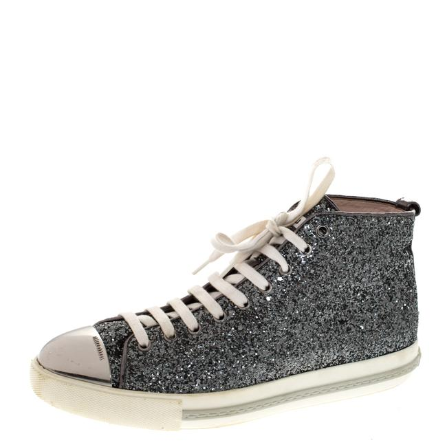 Item - Metallic Silver Glitter and Metal Cap Toe Low Top Sneakers Size 41 Athletic