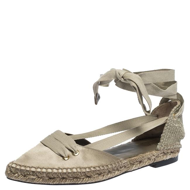 Item - Castaner By Grey Satin and Canvas Espadrille Pointed Toe Ankle Tie Flat Size 37 Sandals