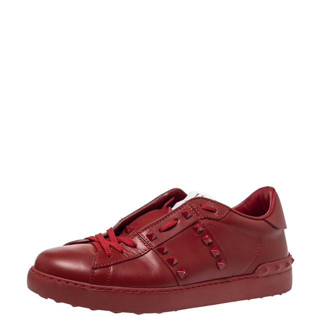 Item - Red Leather Rockstud Untitled Rosso Low Top Sneakers Size 41 Athletic