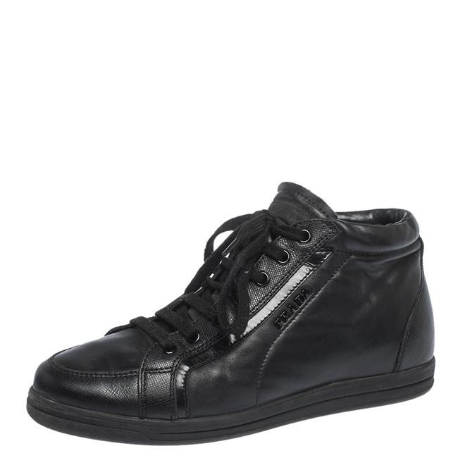 Item - Black Leather Lace Up Sneakers Size 35.5 Athletic