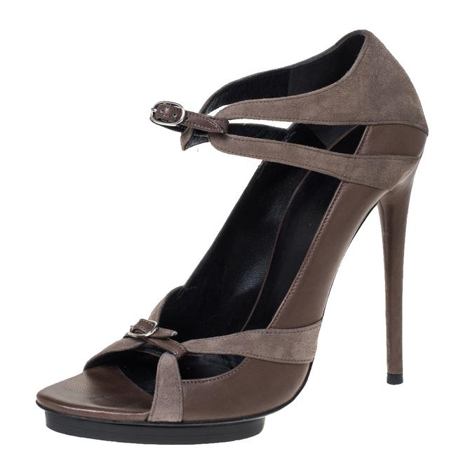 Item - Grey Suede and Leather Double Buckle Strap Platform Size 40 Sandals