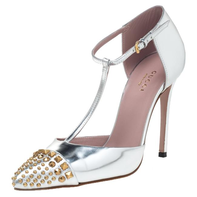 Item - Silver Leather Studded Coline T Strap Size 36.5 Pumps