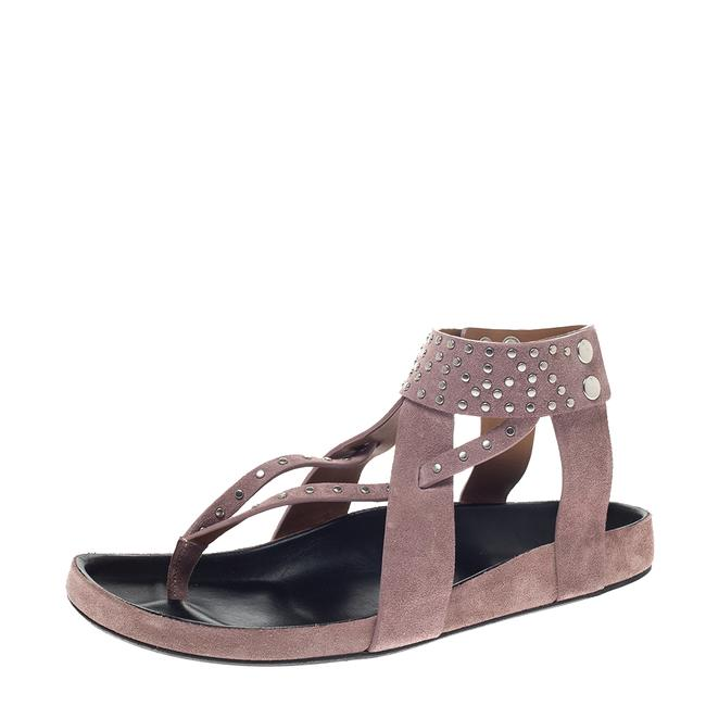 Item - Pink Suede Leather Ellan Studded Thong Flat Size 41 Sandals