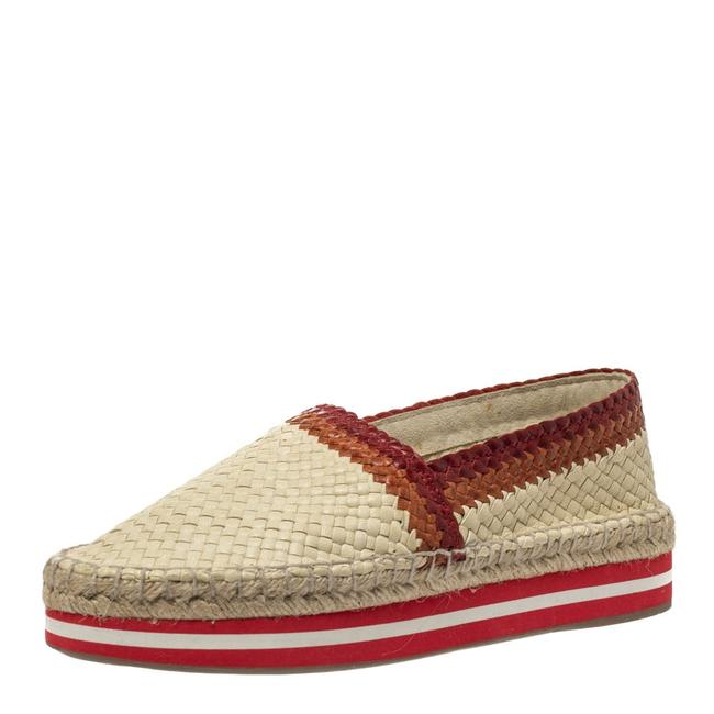 Item - Cream/Red Woven Leather Espadrille Platform Flat Size 38.5 Loafers
