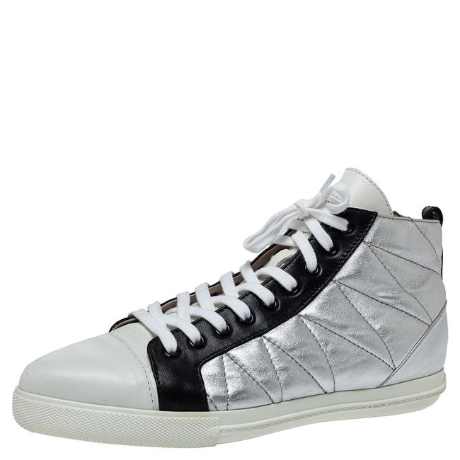 Item - Silver/Black Quilted Leather Lace Up Zipper Sneakers Size 39.5 Athletic
