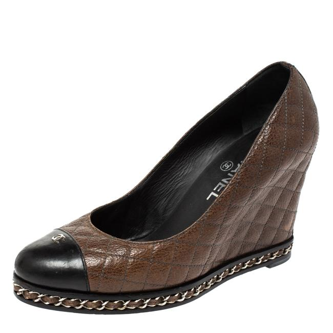 Item - Brown/Black Quilted Leather Escarpins Wedge Size 38.5 Pumps