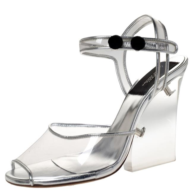 Item - Silver Pvc and Leather Plexiglass Size 35 Sandals