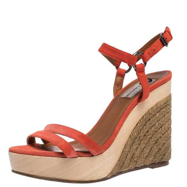 Item - Red Suede Espadrille Wedge Platform Ankle Strap Size 37.5 Sandals