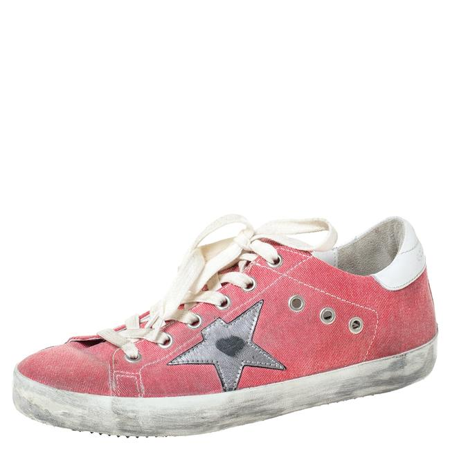 Item - Pink Canvas and Leather Distressed Low Top Sneakers Size 37 Athletic