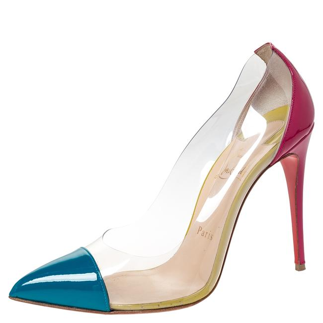 Item - Tricolor Patent Leather and Pvc Debout Pointed Size 38 Pumps