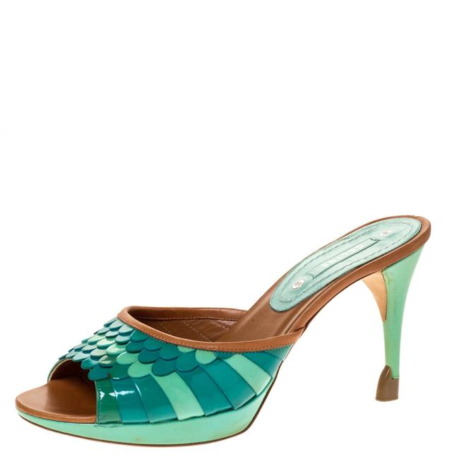 Item - Multicolor Patent and Leather Trim Scalloped Slide Size 37 Sandals