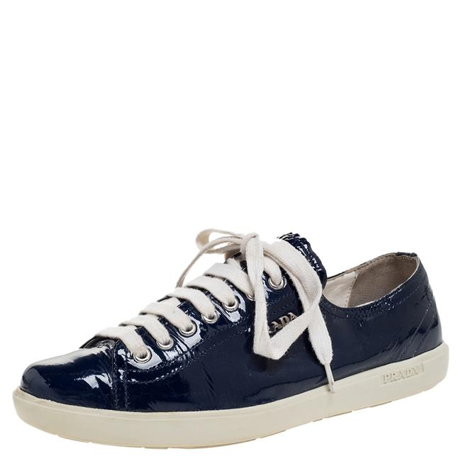 Prada Sport Blue Patent Lace Up Sneakers Size 38.5 Athletic Prada Sport Blue Patent Lace Up Sneakers Size 38.5 Athletic Image 1