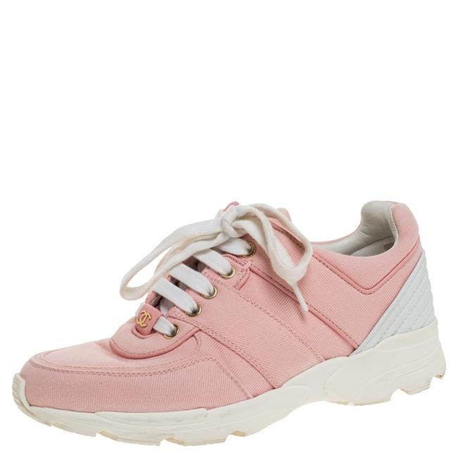 Item - Pink Canvas and White Leather Cc Lace Up Sneakers Size 36 Athletic