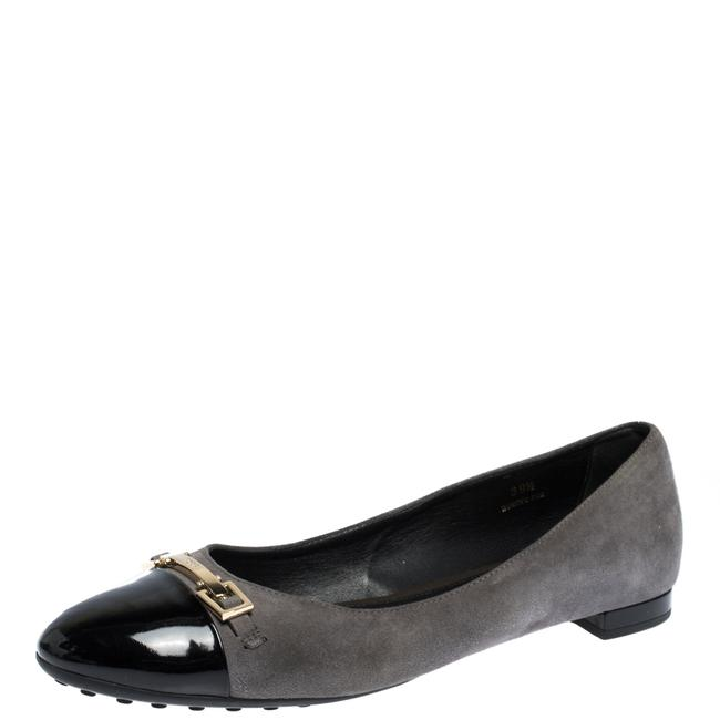 Item - Grey/Black Suede and Patent Leather Cap Toe Buckle Ballet Size 39.5 Flats
