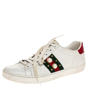 Gucci White Leather Web Detail New Ace Faux Pearl Embellished Low Top Sneakers Size 36.5 Athletic
