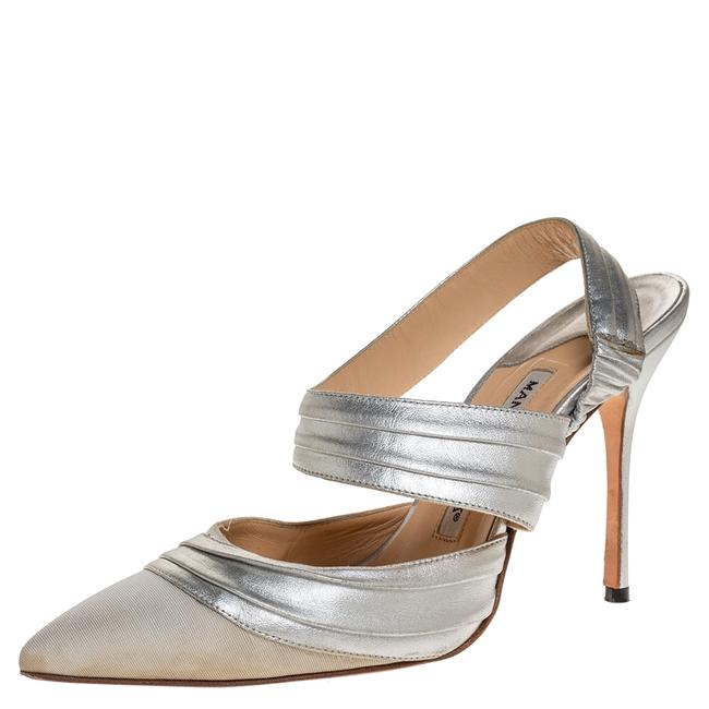 Item - Silver Leather and Grey Grosgrain Alla Size 37 Pumps